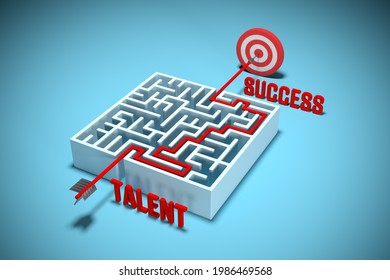 Talent and hard work make success. Hit the target with your talent and transform talent to success. Talent management concept with labyrinth and target, 3d render.