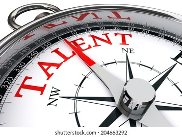 talent indicated by concept compass isolated on white background