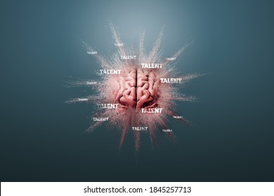 Talent is in your brain concept. Human brain floating on a blue background and text talent, 3D render.