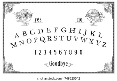 Talking board and planchette used on seances for communicating with the dead / high contrast image / illustration