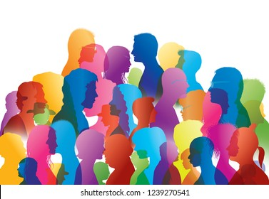 Talking crowd. Dialogue between people. People talking. Colored silhouette profiles