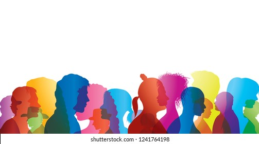 Talking crowd. Dialogue between people. Colored silhouette profiles. People talking