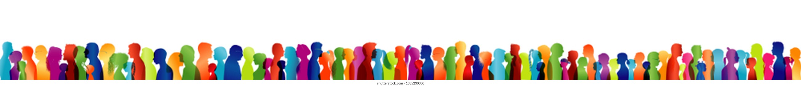 Talking crowd. Large group of diverse people. Dialogue between people. Colored silhouette profiles. People of different ages talking. Colorful multiple exposure