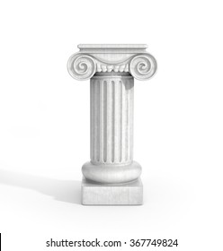 Tall Doric Column Pillar Isolated on White Background. Pedestal.