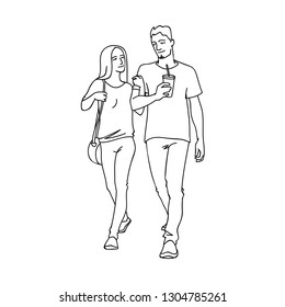 Tall man with cup of soda and woman walking with him by the hand. Monochrome illustration of couple of young people going for a stroll in simple line art style. Black lines on white background.