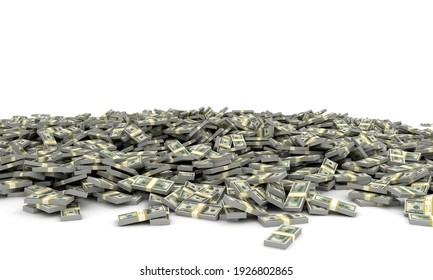 Tall pile of us currency - Big heap of US dollars isolated stacked on white background. 3d render