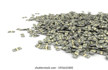 Tall pile of us currency - Big heap of US dollars isolated stacked on white background. 3d render illustration