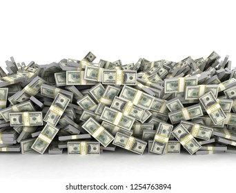 Tall pile of us currency - US dollars isolated stacked on white background. 3d render