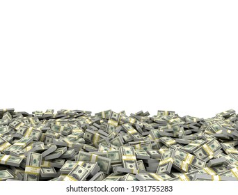 Tall pile of us currency - US dollars isolated stacked on white background. 3d illustration render