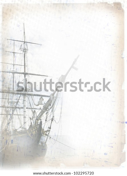 Tall ship on grungy paper. Copy space for your additions