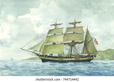Tall Ship Watercolor Painting