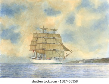 Tall Ship Watercolor Painting, Vessel Illustration