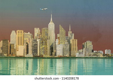 tall skyscrapers in the financial district skyline 3d illustration