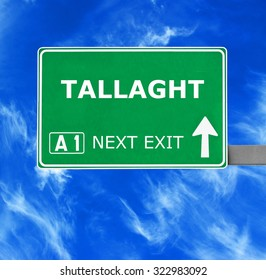 TALLAGHT road sign against clear blue sky
