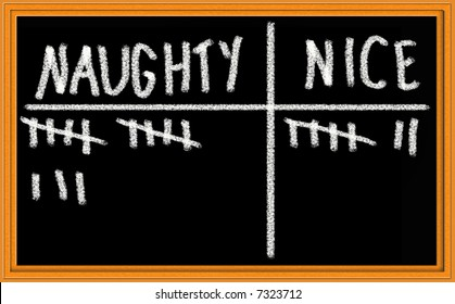 Tally of Naughty versus Nice on Christmas Themed Blackboard