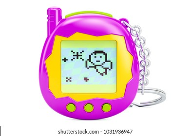 Tamagotchi game, pets pocket game, 3D rendering isolated on white background