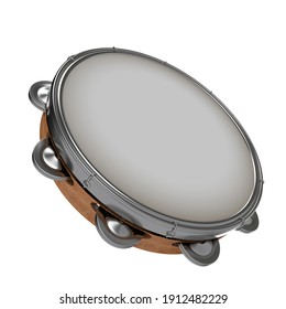 Tambourine 3d for carnival and Folia, Brasilian instrument in perspective camera