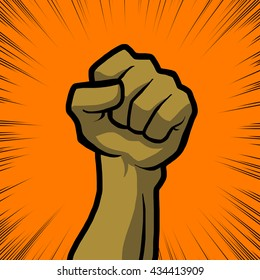 tan fist with orange background