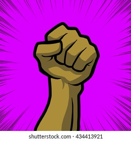 tan fist with purple background