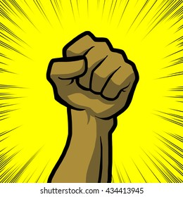 tan fist with yellow background