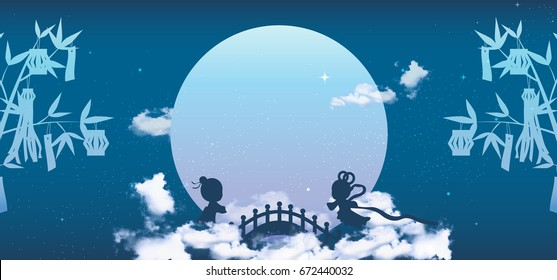 Tanabata or Qixi Festival Banner Background, Celebrates the annual meeting of the cowherd and weaver girl, It falls on the seventh day of the 7th month.
