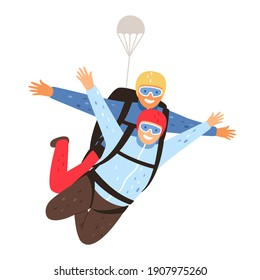 Tandem parachute jump. Parachuting with instructor and excited skydiver, professional skydiving training cartoon illustration - Shutterstock ID 1907975260