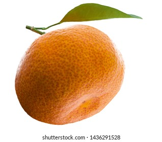 Tangerine or clementine with green leaf isolated on white background. 3d rendering