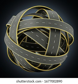 Tangled roads forming a sphere. 3D illustration.