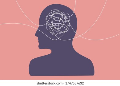 Tangled thoughts, information overload concept. Several lines from different directions that tangle in a person's head, flat illustration.