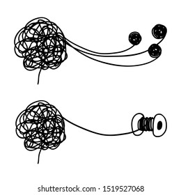 Tangled and untangled brain metaphor. Psychotherapy results concept. Illustration of untangle psychotherapy, graphic brainstorming metaphor