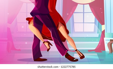 Tango in ballroom illustration of man and woman in red dress dancing Latin American dance in royal palace hall with pink drape curtains on windows of cartoon background.