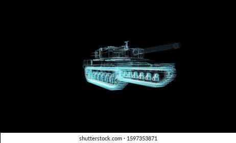 Tank Hologram Wireframe. Nice 3D Render on a black background