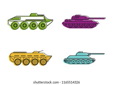 Tank icon set. Color outline set of tank icons for web design isolated on white background