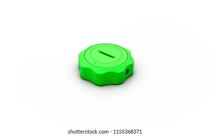 tank lid green on white background 3d illustration