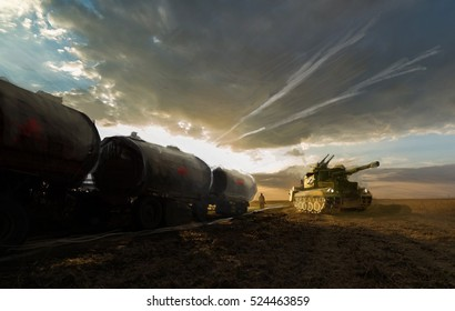tank on field with protecting train