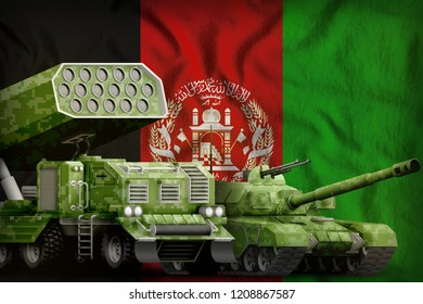 tank and rocket artillery with summer pixel camouflage on the Afghanistan flag background. Afghanistan heavy military armored vehicles concept. 3d Illustration