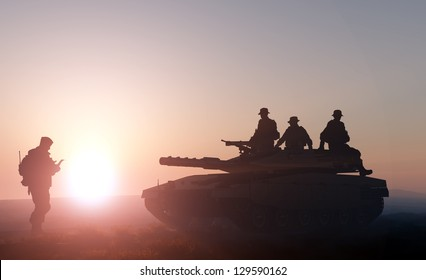 Tank and soldier on a background of a nature