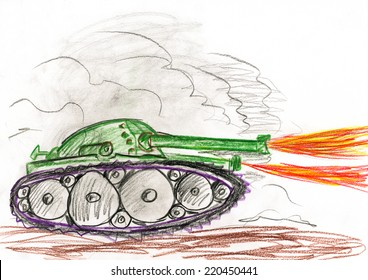 tank in war battle. child drawing.