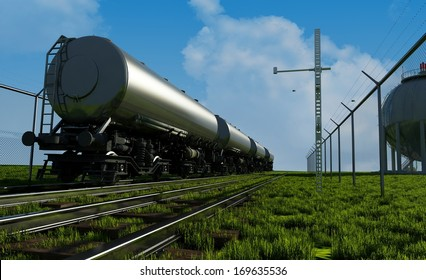 Tanker car on the railroad.