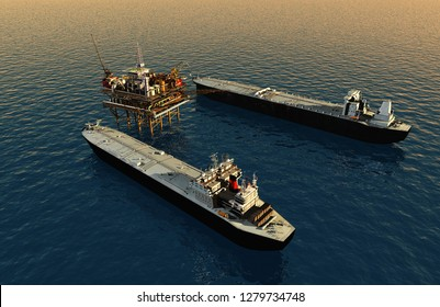 Tankers near the station for oil.,3d render