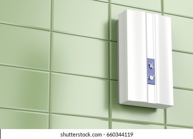 Tankless water heater in the bathroom, 3D illustration