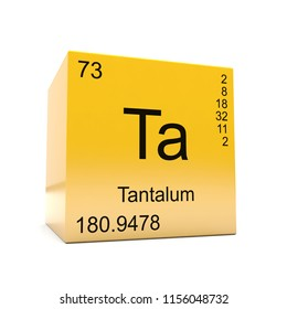 Tantalum chemical element symbol from the periodic table displayed on glossy yellow cube 3D render