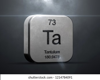 Tantalum element from the periodic table. Metallic icon 3D rendered with nice lens flare