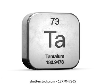 Tantalum element from the periodic table series. Metallic icon set 3D rendered on white background