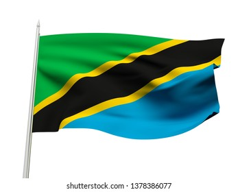 Tanzania flag floating in the wind with a White sky background. 3D illustration.