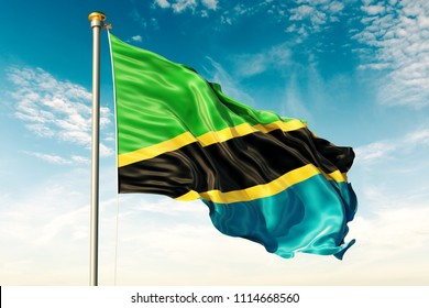 Tanzania flag on the blue sky with cloud. 3D illustration