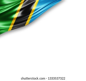 Tanzania flag of silk with copyspace for your text or images and white background -3D illustration