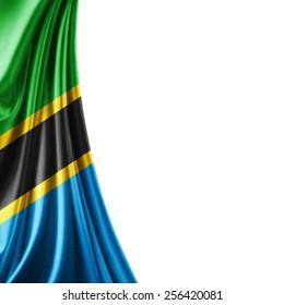 Tanzania flag and white background