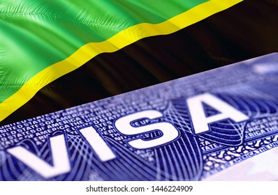 Tanzania visa document close up, 3D rendering. Passport visa on Tanzania flag. Tanzania visitor visa in passport. Tanzania multi entrance visa in passport. Close up of a document and passport