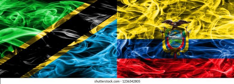 Tanzania vs Ecuador, Ecuadorian smoke flags placed side by side. Thick colored silky smoke flags of Tanzanian and Ecuador, Ecuadorian